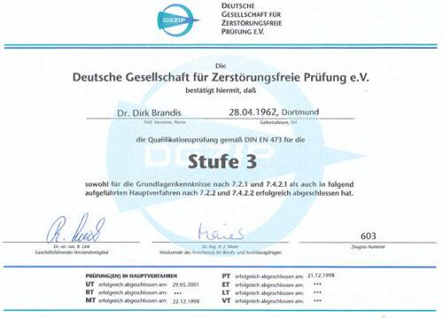 Zertifikat DGZfP Stufe3