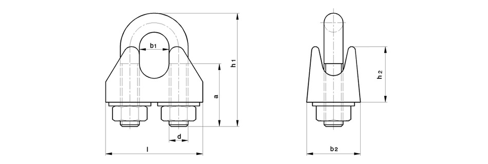 Skizze Drahtseilklemmen mit verkürztem Bügel